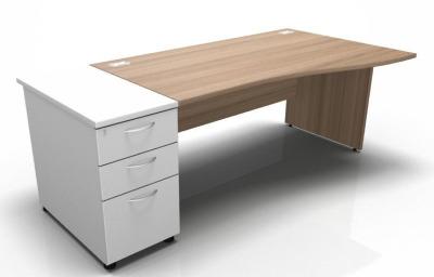 Stella Right Hand Wave Desk With Desk High Pedestal Panel Ends