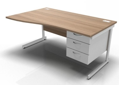 Wave Desk With Fixed Pedestal