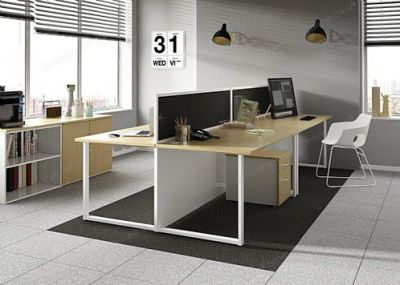 Dual Oak Bench Desks Mood Shot
