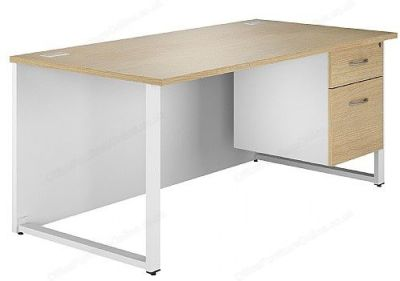 Dual Bench Desk With Drawers In Oak