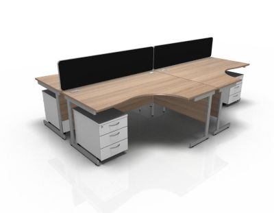 Stellar 4 Way Corner Desk Cluster With Mobile Peds Cant Frame In Birch & White