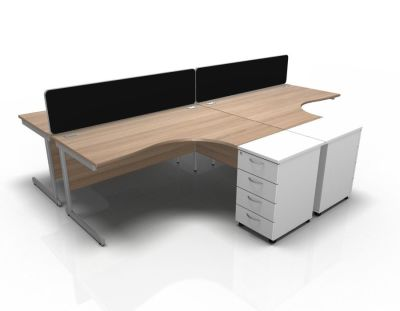 Stellar 4 Way Corner Desk Cluster With Desk High Peds Cant Frame In Birch & White
