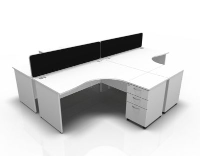 Stellar 4 Way Corner Desk Cluster With Desk High Panel Ends In White