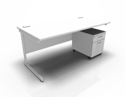 Stellar Rectangular Desk With 2dr Mobile Pedestal - White
