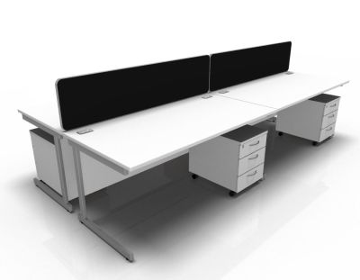 Stellar 4 Way Rect Cantilever Cluster With Mobile Peds In White