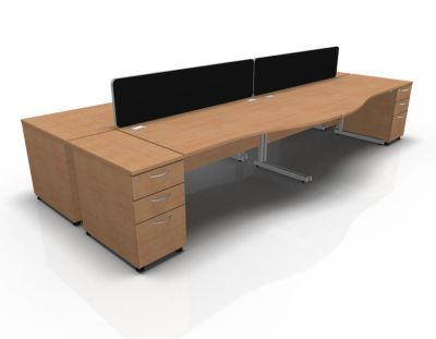 Stellar Wave Desk Cantilever Desk High Ped Birch Beech