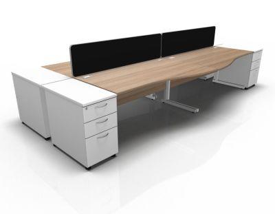 Stellar Wave Desk Cantilever Desk High Ped Birch White