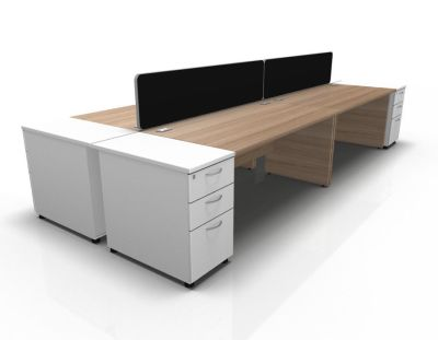 Stellar 4 Way Rectangular Cluster Cant Desk High Peds In Birch & White