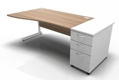 Stella Left Hand Wave Desk With Desk High Pedestal Cantilever Birch White