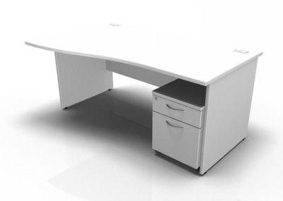Stellar Left Hand Wave Desk - Panel - Mobile Pedestal In White