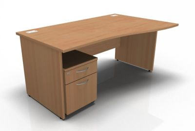 Stellar Right Hand Wave Desk - Panel - Mobile Pedestal In Beech
