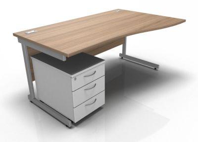 Stella Right Hand Wave Desk And Pedestal In Birch & White