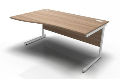 Stellar Left Hand Wave Desk - Cantilever Frame In Birch