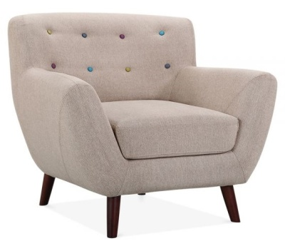 Emily Single Seater Armchair Cream Upholstery A Ngle Shot