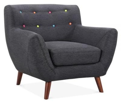 Emily Designer Armchair Dark Grey Fabric Angle View