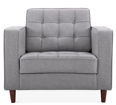 Gustav Designer Armchair In Smoke Grey Front View