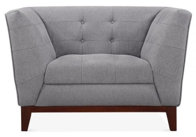 Eden Designer Armchair In Smoke Grey Fabric Front View