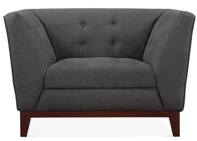 Eden Designer Armchair Dark Grey Upholstery Front View