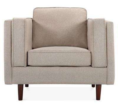 Eddie Designer Armchair Cream Upholstery Front View