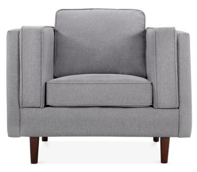 Eddie Designer Armchair Smoke Grey Fanric Front Shot