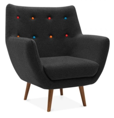 Poet Armchair In Black Angle View