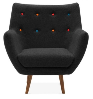 Poet Style Armchair In Black Facing Shot