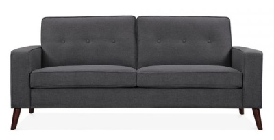 Pimlico Three Seater Sofa In Dark Grey Fabric Front View