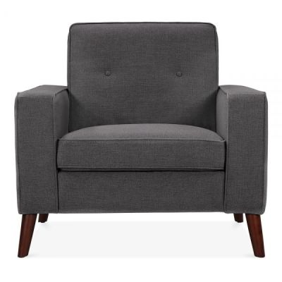 Pimlico Designer Armchair In Dark Grey Fabric Front Shot
