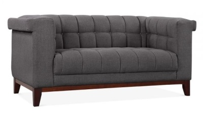 Decor Two Seater Sofa Angle View Dark Grey Fabric