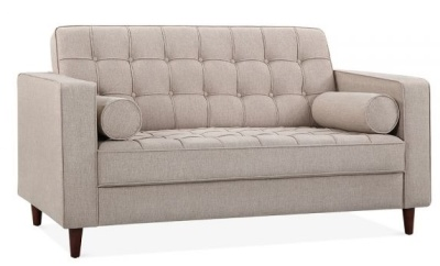 Gustav Two Seater Sofa In Cream Front Angle View