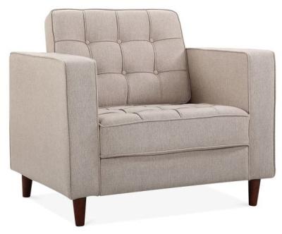 Gustav Single Seater Sofa Cream Fabric Angl;e View