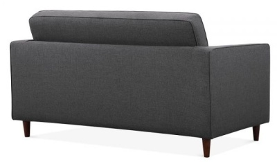 Gustav Two Seater Sofa In Dark Grey Fabric Rear View