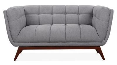 Oboe Two Seater Sofa In Smoke Grey Front View
