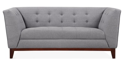 Eden Designer Two Seater Sofa In Smoke Grey Front View