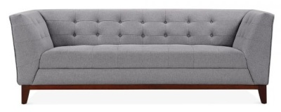 Eden Three Seater Designer Sofa In Smoek Grey Fabric Front View