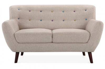 Eily Two Seater Sofa Cream Fabric Front View