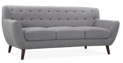 Emily Three Seater Sofa In Smoke Grey Angle View