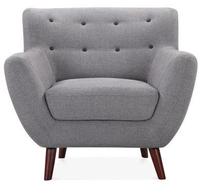 Emily Single Seater Armchair In Smoke Grey Front View
