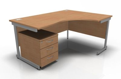 Stellar Right Hand Corner Desk & Mobile Pedestal In Beech
