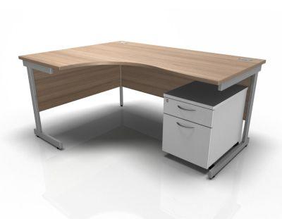Stellar Left Hand Corner Desk & Pedestal In Birch & White
