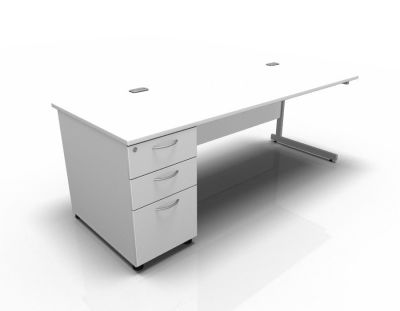 Stellar Rec Desk With DH Ped Cant In White