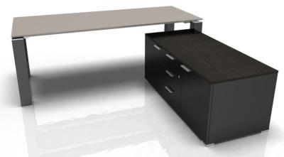 Jet Evo Glass Desk And Credenza Cupboard