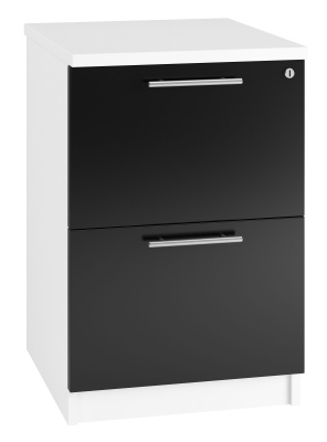 Trend Two Darwer Filing Cabinet High Gloss Black Fronts