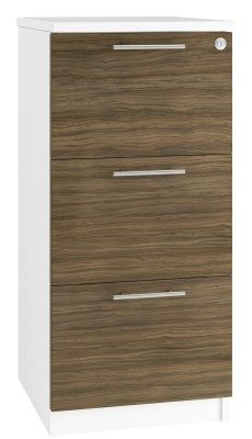 Trend Three Drawer Wooden Filing Cabinet With Dark Olive Drawer Fronts