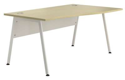 Spectrum Right Hand Wave Desk With A Maple Top And White Frame