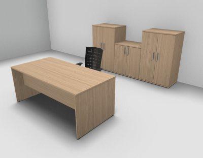 Avalon Exe Verde Oak Rectangular Desk Three Double Door Cupboards