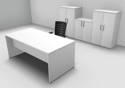 Avalon Exe White Rectangular Desk Three Double Door Cupboards