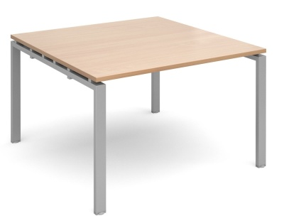 Exact Starter Modular Table With A Beech Top And Silver Frame