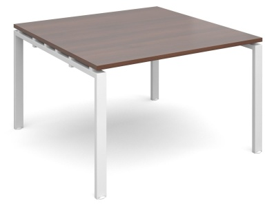 Exact Square Modular Tabled With A Walnut Top And White Vframe
