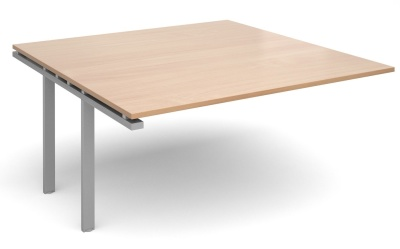 Exact Square Add On Table With A Beech Top Anad Silver Frame